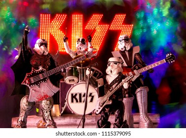 JUNE 17, 2018: Star Wars Stormtroopers as the Rock band KISS performing on stage using action figures