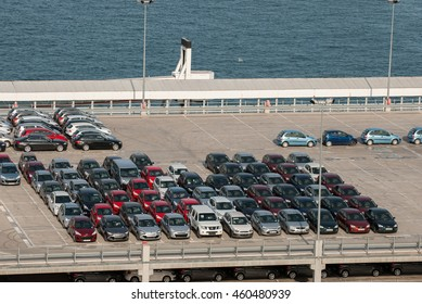 JUNE 18, 2011 - BARCELONA, SPAIN: Many cars waiting for sale at barcelona's port