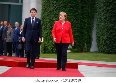 JUNE 18, 2018 - BERLIN: Giuseppe Conte, Angela Merkel - meeting of the German Chancellor with the new Italian Prime Minister in the Chanclery.