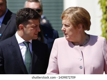 JUNE 18, 2019 - BERLIN: the minute in which the German Chancellor was shaking/Volodymyr Zelensky, Angela Merkel - meeting of the German Chancellor with the Ukrainian President, Federal Chanclery.