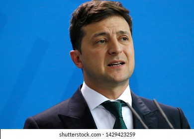 JUNE 18, 2019 - BERLIN: Volodymyr Zelensky - meeting of the German Chancellor with the Ukrainian President, Federal Chanclery.