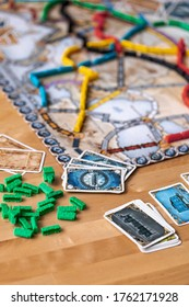 June 18, 2020 - British Columbia, Canada - Ticket To Ride: Europe the board game being played.