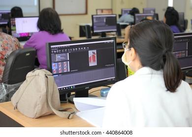 June 19, 2016 : Teachers study with video production for developing teaching materials. At Bangkok Training Center School, Bangkok, Thailand.