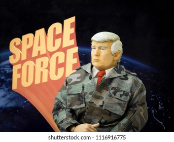 JUNE 19 2018: Caricature of United States President Donald Trump suggesting a new military branch to include a US Space Force concept - political humor and satire