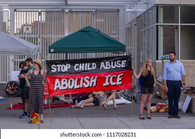 "JUNE 19, 2018 - PORTLAND, OR: Occupy ICE is born when a crowd gathers to camp out in front the ICE Portland field officE to protest the Trump administration ""Zero Tolerance"" policy on immigration."