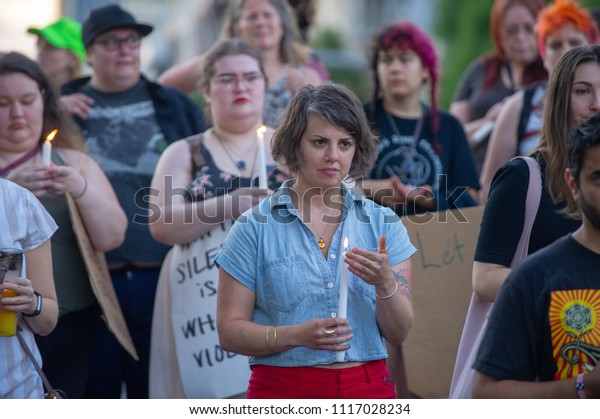 """JUNE 19, 2018 - PORTLAND, OR: Occupy ICE is born when a crowd gathers to camp out in front the ICE Portland field officE to protest the Trump administration """"Zero Tolerance"""" policy on immigration."""