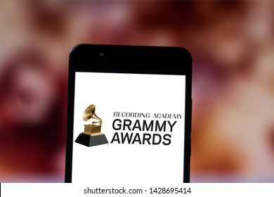 June 19, 2019, Brazil. In this photo illustration the Grammy Awards logo is displayed on a smartphone.