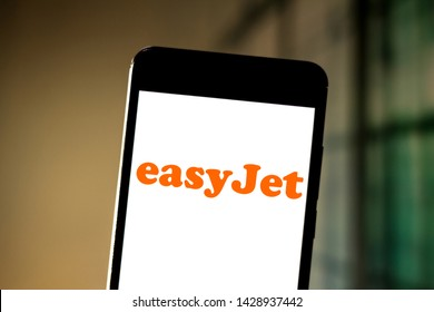 June 19, 2019, Brazil. In this photo illustration the EasyJet Airline Company Limited logo is displayed on a smartphone.