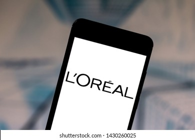 June 19, 2019, Brazil. In this photo illustration the L'Oréal (LOreal) logo is displayed on a smartphone.