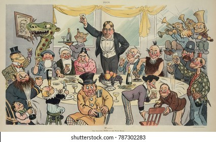 June 1904 cartoon in PUCK magazine mocking the political ambitions of William Randolph Hearst. The newspaper publisher is hosting a victory dinner of cartoon characters at the White House. On the left