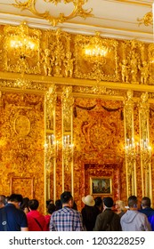 June 19th 2018.Tsarskoye Selo, St Petersburg , Russia. The interior of the Catherine Palace - the former Royal country residence. Amber room.