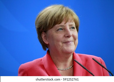 JUNE 2, 2016 - BERLIN: German Chancellor Angela Merkel at a press conference after a meeting with the NATO Secretary General  in the Federal Chanclery in Berlin.