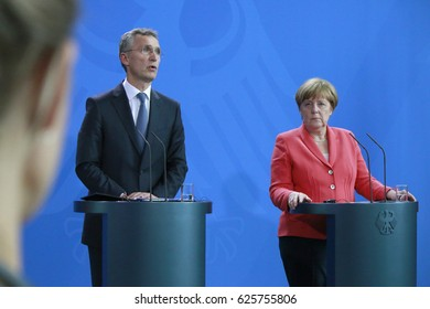JUNE 2, 2016 - BERLIN: German Chancellor Angela Merkel and NATO Secretary General Jens Stoltenberg at a press conference  in the Federal Chanclery in Berlin.