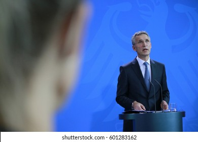 JUNE 2, 2016 - BERLIN: NATO Secretary General Jens Stoltenberg at a press conference after a meeting with the German Chancellor in the Federal Chanclery in Berlin.