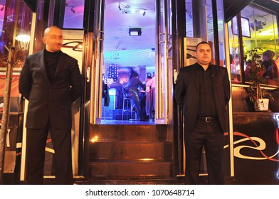 June 2 2018, Bar security aka bouncers wait at the bar door in Bostanci, istanbul