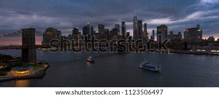 JUNE 2, 2018 - NEW YORK, NEW YORK, USA  - New York City and East River shows Brooklyn Bridge and Manhatten Skyline  as seen from Queens