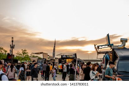 June 2, 2019 Hangang River Park, Yeouido, Seoul. Seoul Bamdokkaebi night market Festival Scenery.