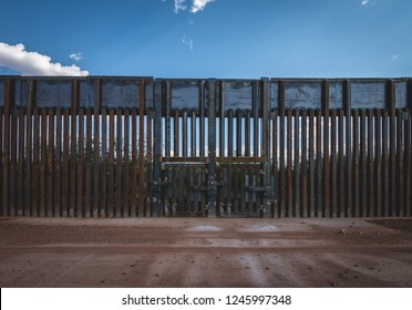 June 20, 2017 - Naco, Arizona. Border fence dividing the United States and Mexico.