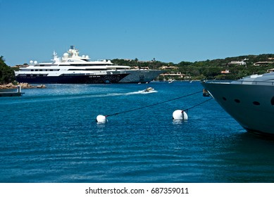 June 20, 2017 - Porto Cervo, Italy : landscape with some yachts moored in a harbor of Porto Cervo. editorial use.