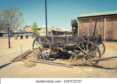 June 20, 2017 - Tombstone, Arizona, USA - Old stage coach wagon historic site and tourist attraction in the Wild West