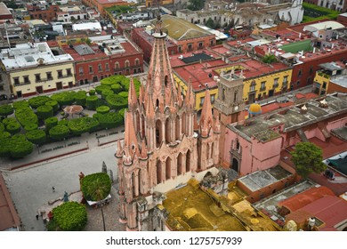 June 20, 2018. Aerial view of the historic center of San Miguel de Allende with colorful Colonial buildings and La Parroquia de San Miguel Arcángel, in San Miguel de Allende Guanajuato Mexico.