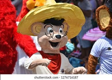 June 20, 2018. Local kid is wearing a  colorful Speedy Gonzales costume and  participating in the Fiesta de los Locos a celebration of San Miguel de Allende, Guanajuato Mexico.