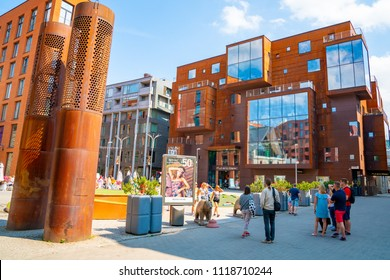 June 20, 2018. Tallinn, Estonia. Beautiful architecture of the modern Rotermann district in Tallinn.