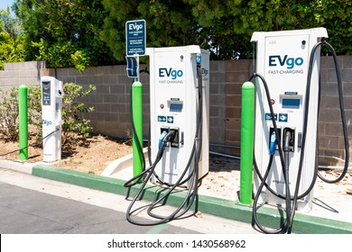 June 20, 2019 Cupertino / CA / USA - EVgo charging station located in a parking lot in South San Francisco bay area;  EVgo is America's Largest Public Electric Vehicle (EV) Fast Charging Network