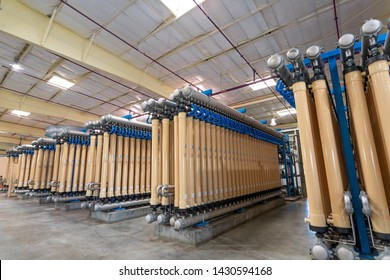 June 20, 2019 San Jose / CA / USA - Micro filtration system at Silicon Valley Advanced Water Purification Center located in South San Francisco bay area; part of the Santa Clara Valley Water District
