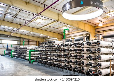 June 20, 2019 San Jose / CA / USA - Reverse Osmosis equipment at the Silicon Valley Advanced Water Purification Center located in South San Francisco bay area; the Santa Clara Valley Water District