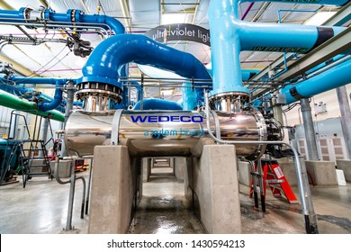June 20, 2019 San Jose / CA / USA - Ultraviolet light system at Silicon Valley Advanced Water Purification Center located in South San Francisco bay area; part of the Santa Clara Valley Water District