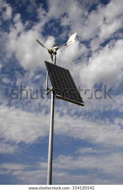 JUNE 2008 - NIERSTEIN: alternative energies: aolar and wind energy in one panel, Rhineland-Palatine, germany.