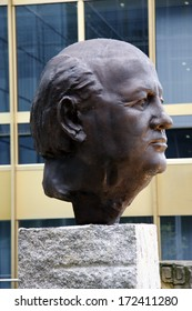JUNE 2011 - BERLIN: a statue of former president of the Soviet Union, Michail Gorbachev (Michail Gobatschow) by Serge Mangin at the headquarters of the Axel Springer publishing company in Berlin.