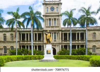 June 2012 Oahu : kamehameha statue honululu oahu hawaii is located opposite the Supreme Court of Hawaii