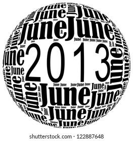 June 2013 info-text graphics arrangement on white background