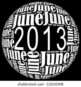 June 2013 info-text graphics arrangement on black background