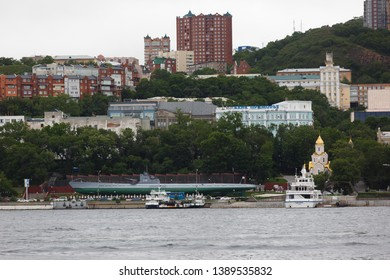June, 2013 - Vladivostok, Primorsky Krai - The sea facade of the city of Vladivostok. The capital of the Far East is the city of Vladivostok from the sea. City port.