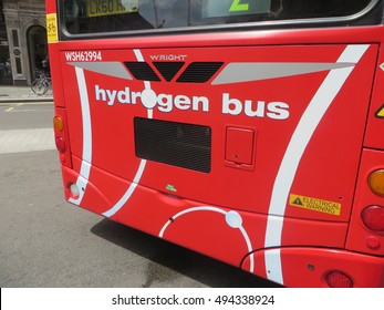June 2014, A close up of a London Hydrogen Bus manufactured by Wright Bus displayed at the Year of the Bus festival on London's Regent Street.