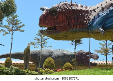 June 2014 - Parque Cretacico, Sucre, Bolivia - Dinosaur themed park   with fossils and life-size statues