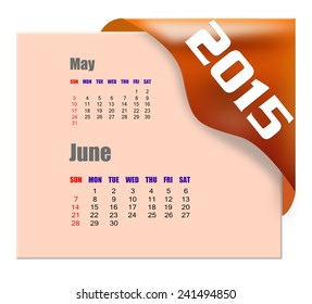 June 2015 calendar with past month series