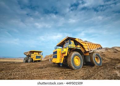 June, 2016 - Buryatia, Russia: Trucks working in open pit.