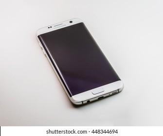 june 2016 : Studio shot of a white Samsung Galaxy S7 Edge smartphone