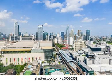June 2017 at Bangkok Thailand - Cityscape of high view Siam area and people walking at the front of Siam Paragon in Bangkok Thailand