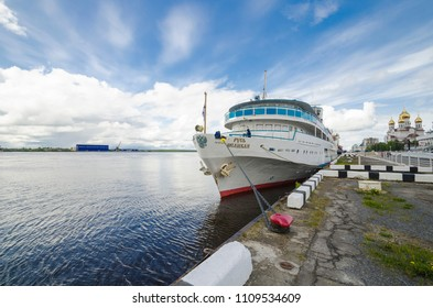 "June, 2018 - Arkhangelsk. Cruise ship ""Great Russia"" at the pier in Arkhangelsk"