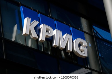 "JUNE 2018 - BELFAST: the logo of the brand ""KPMG""."