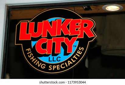 """JUNE 2018 - BERLIN: the logo of the brand """"Lunker City""""."""