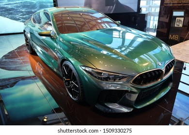 June 2018: BMW Welt museum. Luxury car, front view, model BMW M8 year 2019.