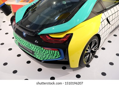 June 2018: BMW Welt museum. Back view of luxury vehicle, BMW i8 Memphis style, year 2017.