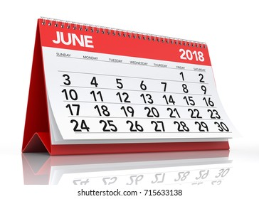 June 2018 Calendar. Isolated on White Background. 3D Illustration