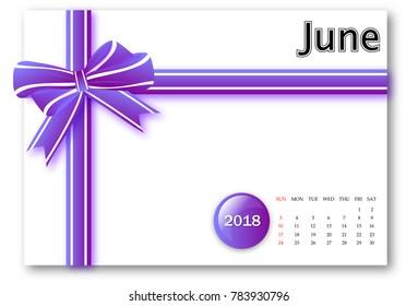June 2018 - Calendar series with gift ribbon design